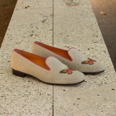 Custom Made Audrey Slipper in Ice Linen