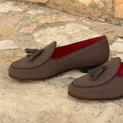 Custom Made Belgian Slippers in Brown Linen and Calf Leather