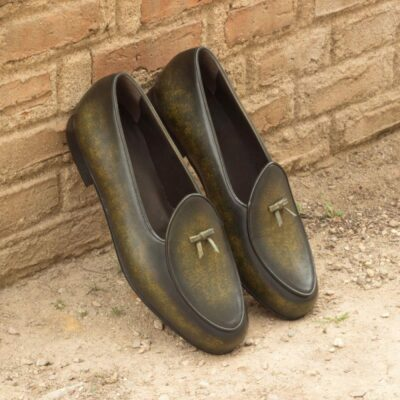 Custom Made Belgian Slippers in Italian Raw Crust Leather with a Khaki Hand Patina