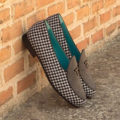 Custom Made Belgian Slippers in Light Grey Flannel and Houndstooth