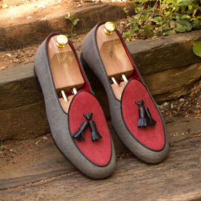Custom Made Belgian Slippers in Red and Grey Linen