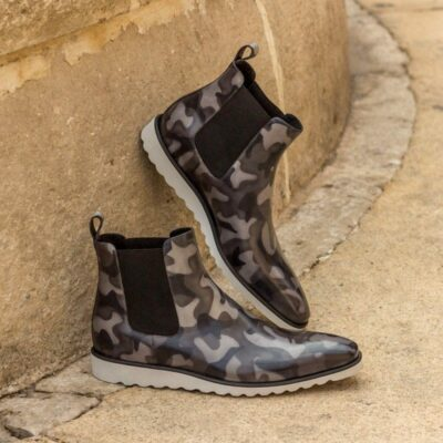 Custom Made Chelsea Boot Classic in Italian Raw Crust Leather with a Grey Camo Hand Patina