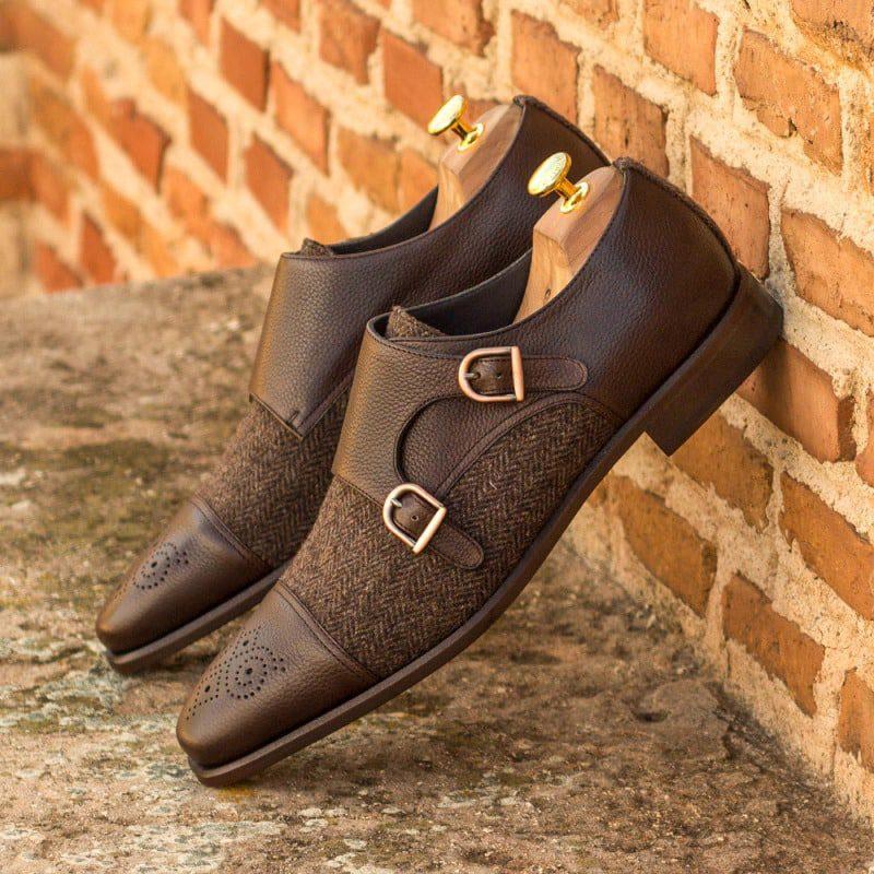 Custom Made Double Monks in Dark Brown Painted Calf Leather with Herringbone