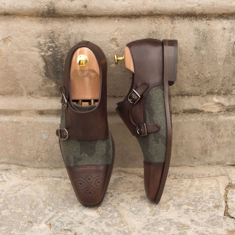 Custom Made Double Monks in Dark Brown Painted Full Grain Leather with Camo Flannel
