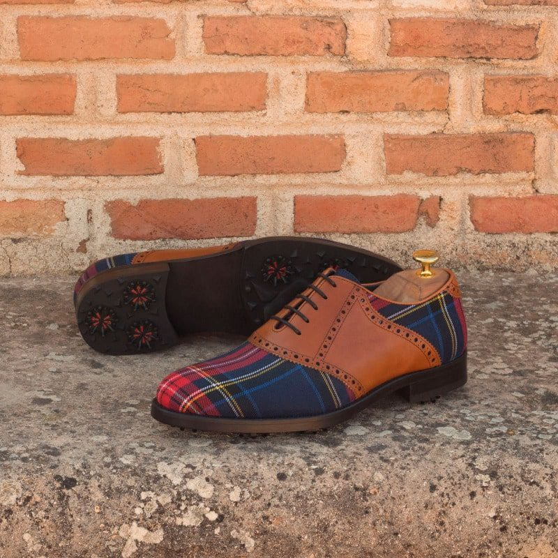 Custom Made Golf Saddle Shoes in Cognac Painted Calf and Tartan