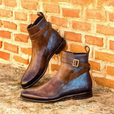 Custom Made Jodhpur Boot in Italian Raw Crust Leather with a Denim Blue and Brown Hand Patina Finish