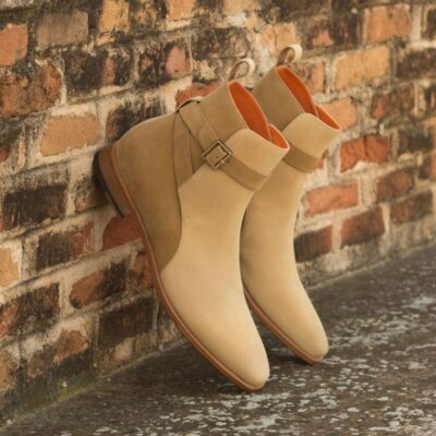 Custom Made Jodhpur Boot in Sand and Camel Luxe Suede