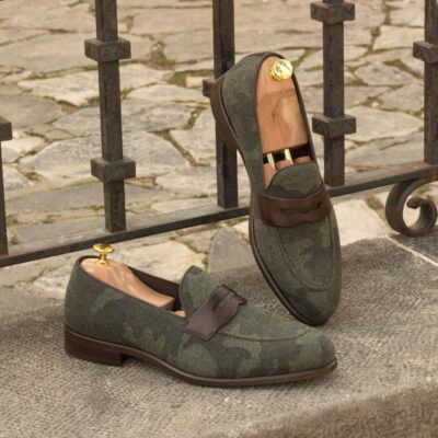 Custom Made Loafers in Camo Flannel with Dark Brown Painted Calf Leather Mask