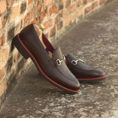 Custom Made Loafers in Dark Brown Pebble Grain Leather with Burgundy Box Calf and Red Patent Leather
