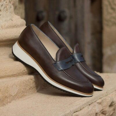 Custom Made Loafers in Dark Brown and Navy Blue Painted Full Grain Leather