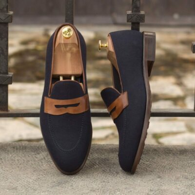 Custom Made Loafers in Navy Blue Flannel with Medium Brown Painted Calf