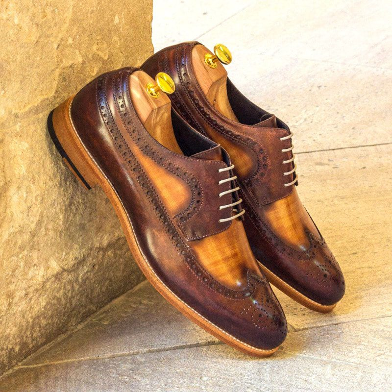 Custom Made Long Wingtip Blucher in Italian Raw Crust Leather with a Cognac and Brown Hand Patina