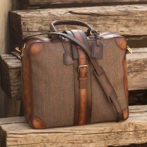 Custom Made Luxury Travel Tote in Tweed with Medium and Dark Brown Painted Calf