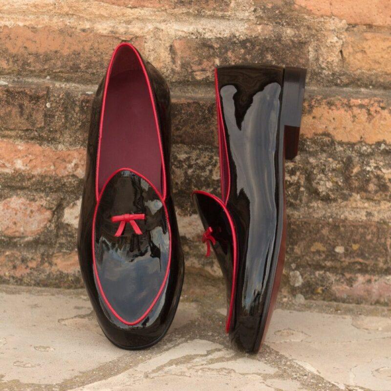 Custom Made Men's Belgian Slippers in Black Patent Leather