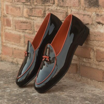 Custom Made Men's Belgian Slippers in Black Patent Leather with Orange Nappa Leather