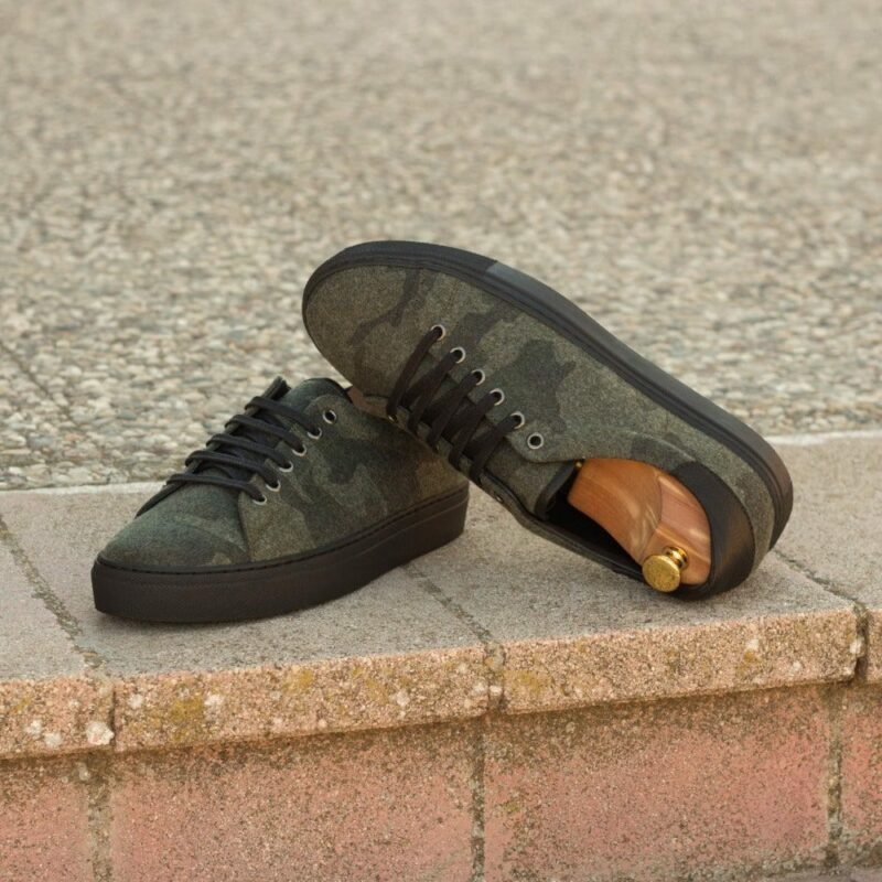 Custom Made Men's Cupsole Trainers in Camo Flannel and Black Full Grain Leather