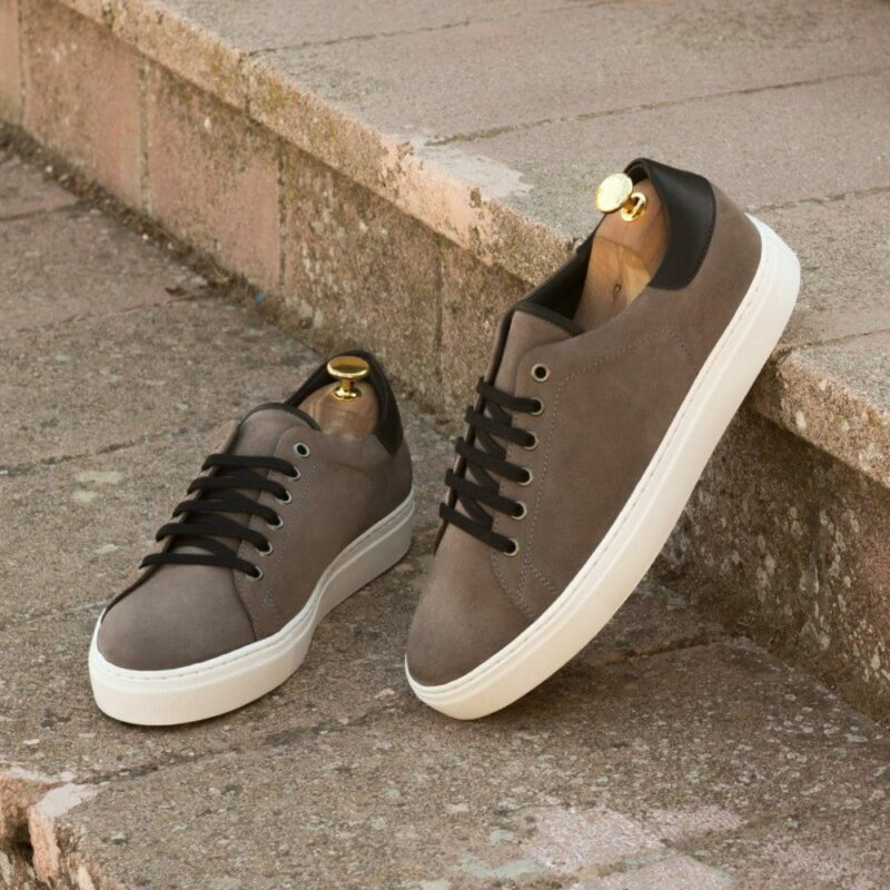 Custom Made Men's Cupsole Trainers in Grey Luxe Suede and Black Painted Calf
