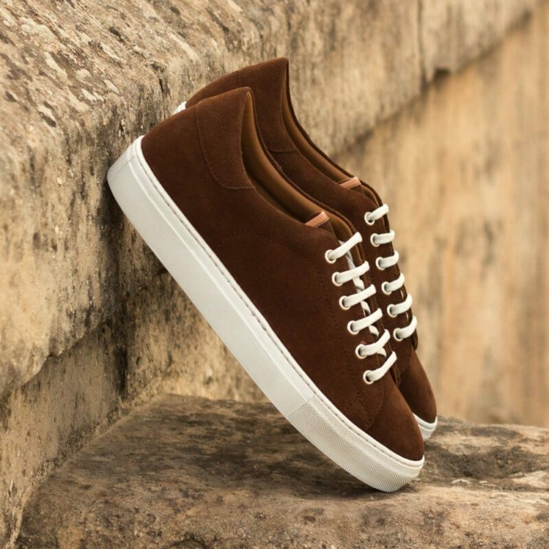 Custom Made Men's Cupsole Trainers in Medium Brown Luxe Suede and Painted Calf Leather