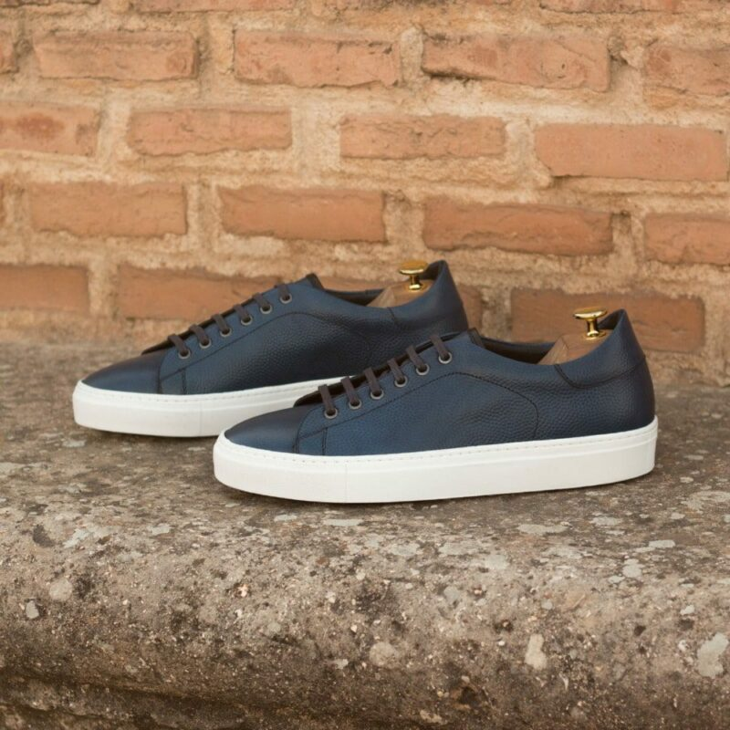 Custom Made Men's Cupsole Trainers in Navy Blue Pebble Grain and Black Painted Calf Leather
