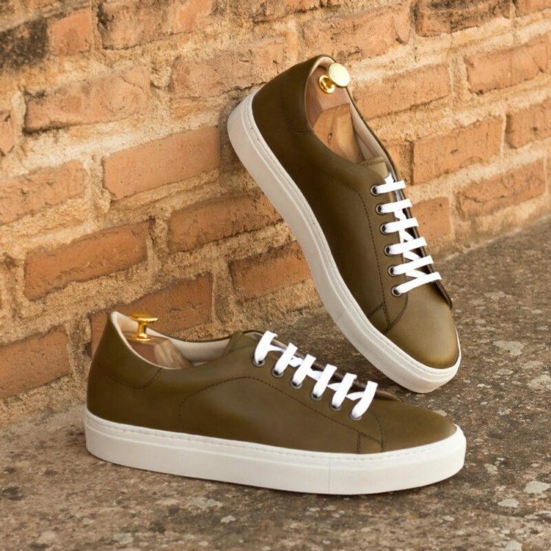 Custom Made Men's Cupsole Trainers in Olive Painted Calf Leather