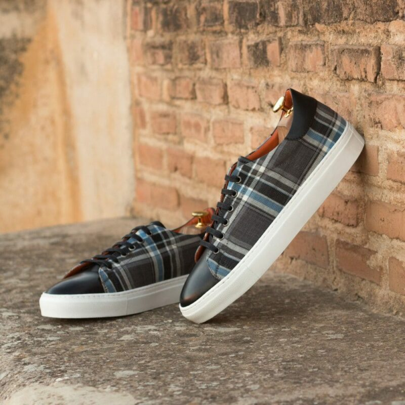 Custom Made Men's Cupsole Trainers in Plaid and Black Painted Calf Leather