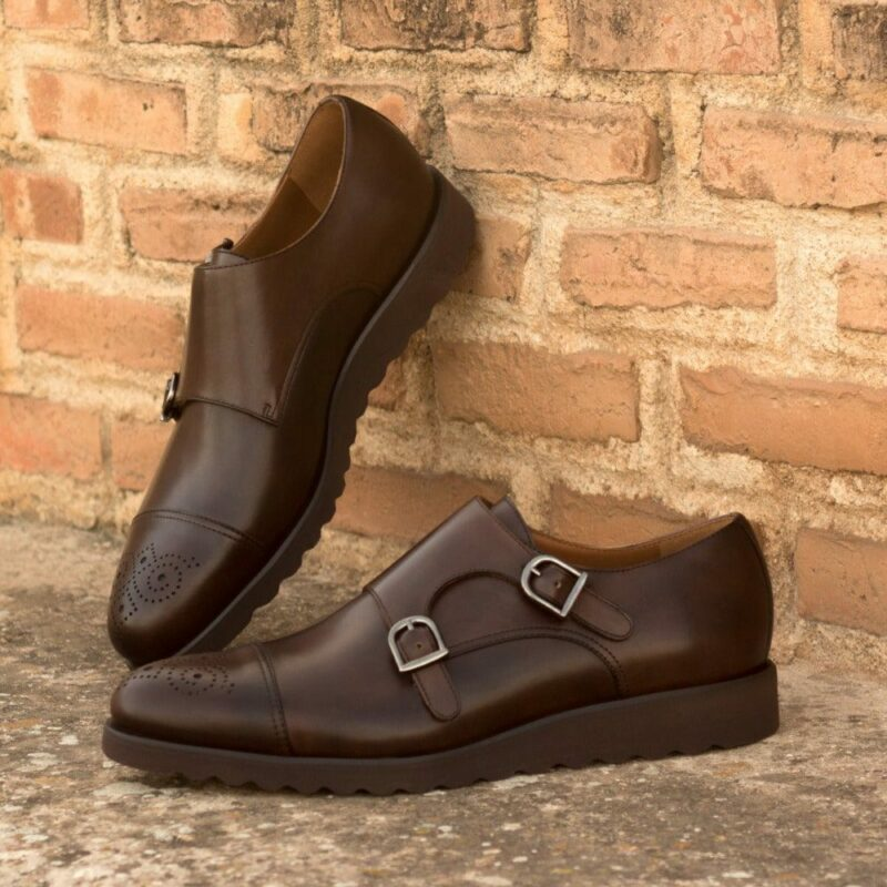 Custom Made Men's Double Monks in Dark Brown Painted Calf Leather