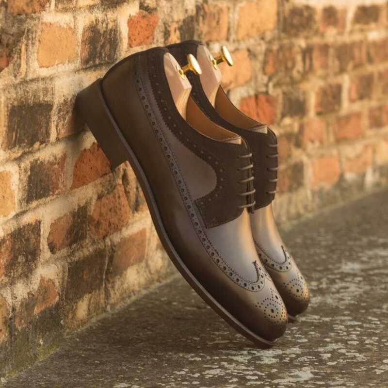 Custom Made Men's Longwing Blucher in Dark Brown Painted Calf and Luxe Suede