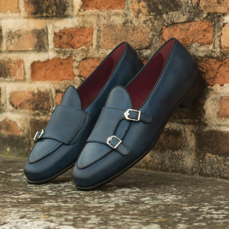Custom Made Men's Monk Slippers in Navy Blue and Black Painted Calf Leather