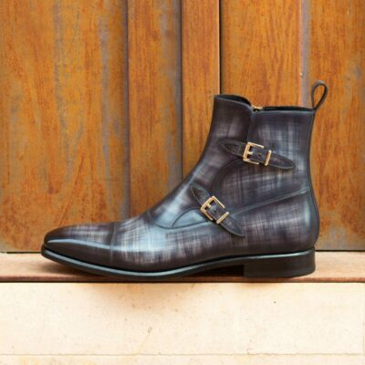 Custom Made Men's Octavian Boot in Italian Calf Leather with a Grey Hand Patina