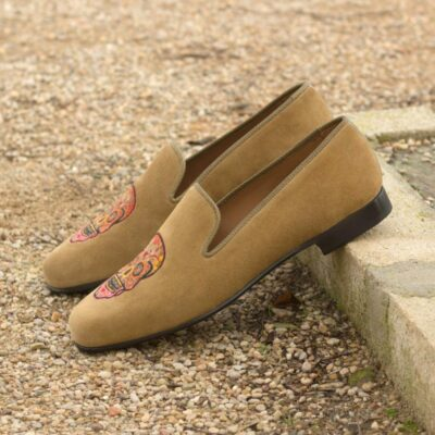 Custom Made Men's Wellington Slippers in Camel Suede and Olive Painted Full Grain Leather