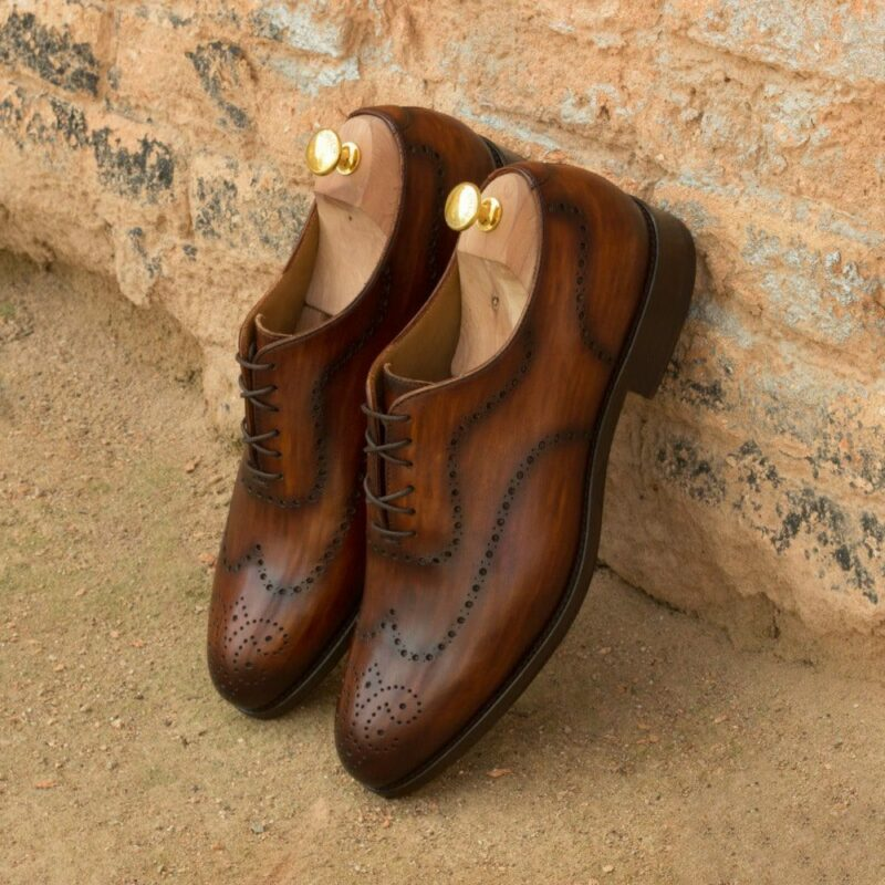Custom Made Men's Wholecut Dress Shoes in Italian Calf Leather with a Cognac Hand Patina
