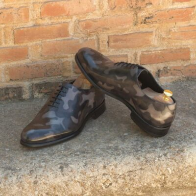 Custom Made Men's Wholecut Dress Shoes in Italian Calf Leather with a Grey Camo Hand Patina