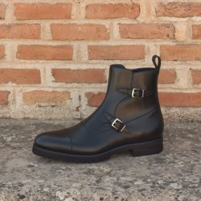 Custom Made Octavian Boot in Black Painted Calf and Pebble Grain Leather