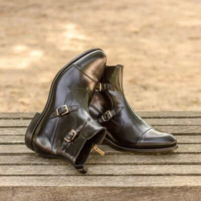 Custom Made Octavian Boot in Black Polished Calf with Black Croco
