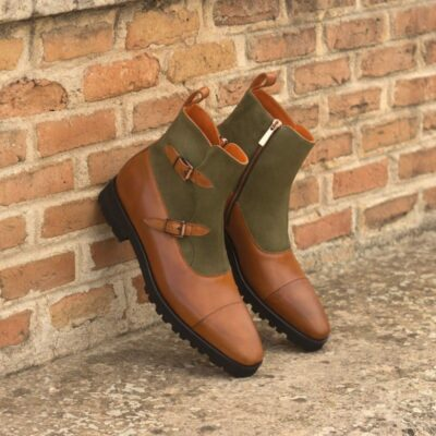 Custom Made Octavian Boot in Cognac Painted Calf and Khaki Kid Suede