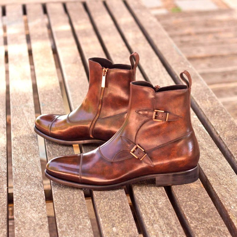 Custom Made Octavian Boot in Italian Raw Crust Leather with a Brown Hand Patina Finish