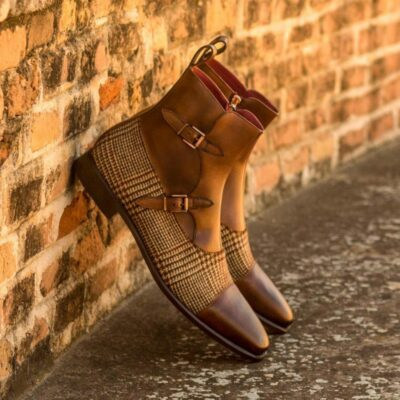 Custom Made Octavian Boot in Medium Brown Painted Calf with Tweed