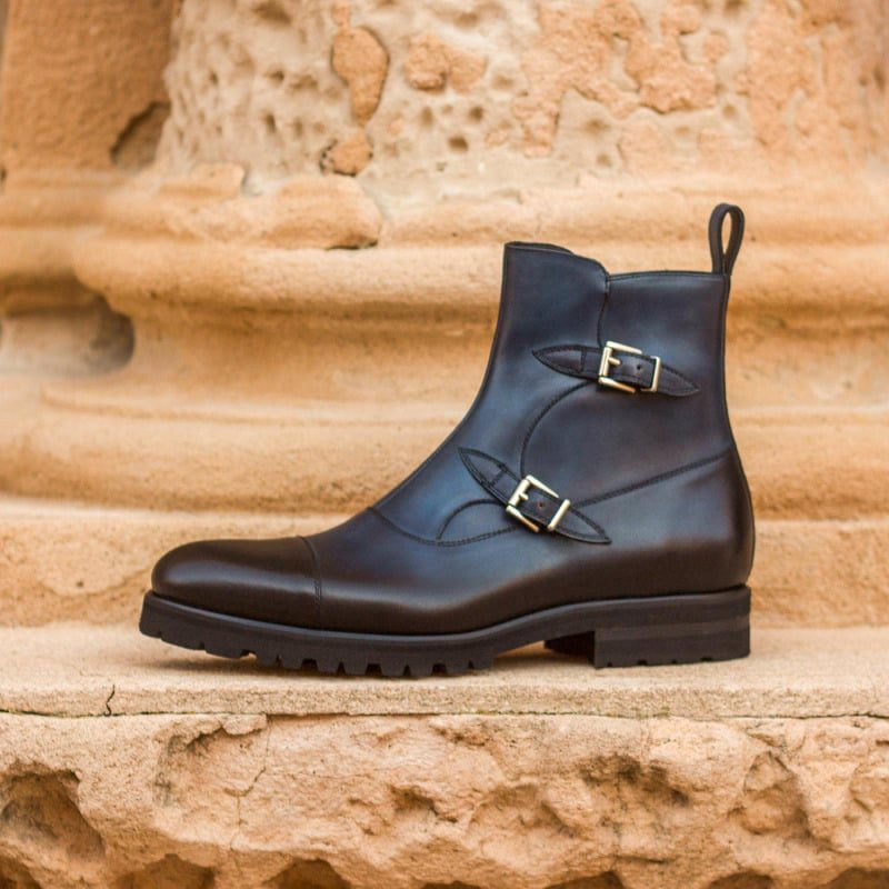 Custom Made Octavian Boot in Navy Blue Painted Calf Leather