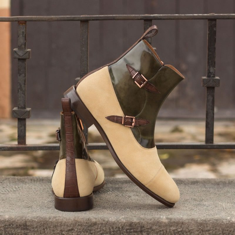 Custom Made Octavian Boot in Sand Luxe Suede and Green Polished Calf Leather with Brown Croco