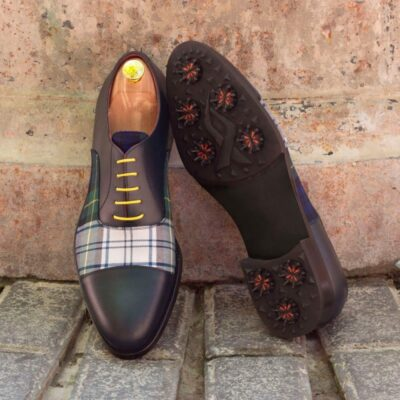 Custom Made Oxford Golf Shoes in Navy Blue Box Calf and Tartan