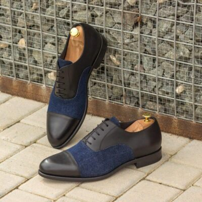 Custom Made Oxford in Black Box Calf with Denim