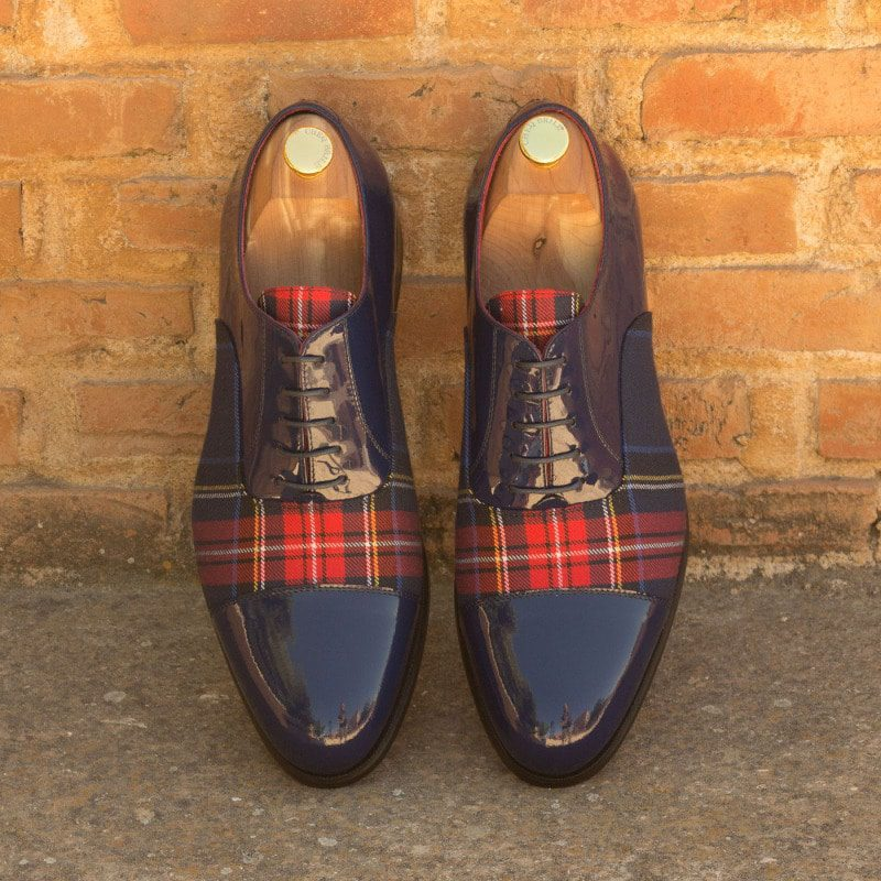 Custom Made Oxford in Cobalt Blue Patent Leather with Tartan