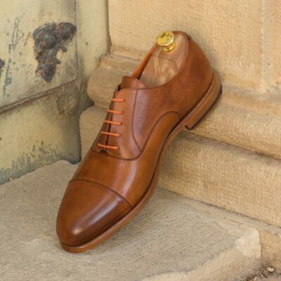 Custom Made Oxford in Cognac Painted Calf Leather