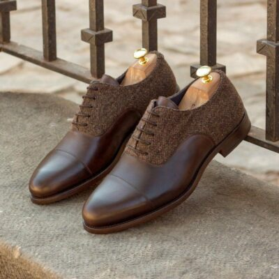 Custom Made Oxford in Dark Brown Painted Calf with Herringbone