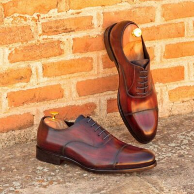 Custom Made Oxford in Italian Raw Crust Leather with a Burgundy and Denim Hand Patina