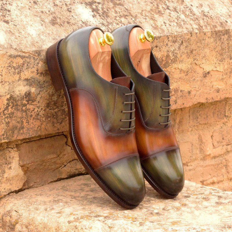 Custom Made Oxford in Italian Raw Crust Leather with a Cognac and Khaki Hand Patina