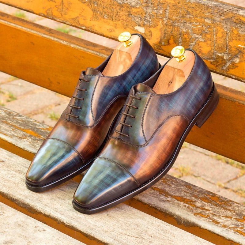 Custom Made Oxford in Italian Raw Crust Leather with a Denim and Brown Hand Patina