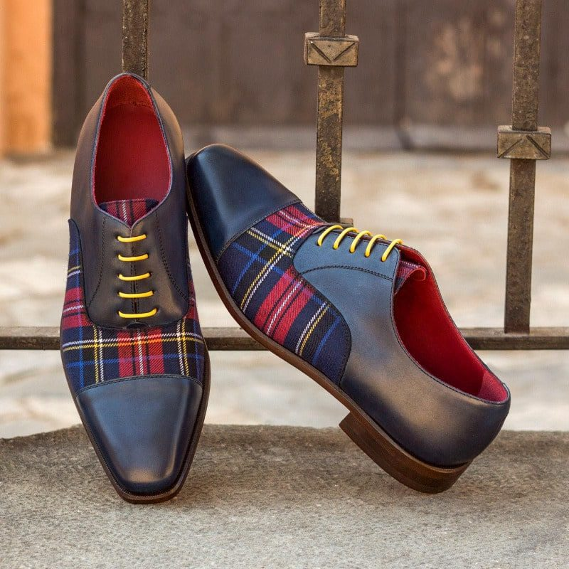 Custom Made Oxford in Navy Blue Painted Calf Leather with Tartan