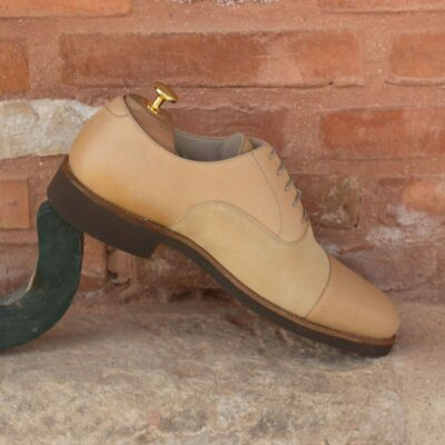 Custom Made Oxford in Sand Luxe Suede and Fawn Pebble Grain Leather