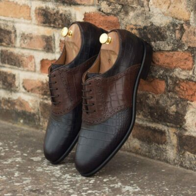Custom Made Saddle Shoes in Black and Brown Croco Embossed Calf Leather